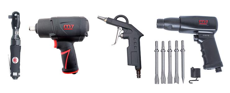 Трещетка, гайковёрт, продувочный пистолет и зубило